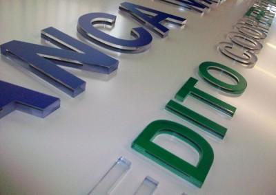 banca dettaglio lettere plexiglass