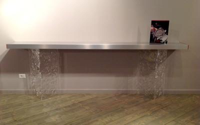 tavolo alluminio plexiglass